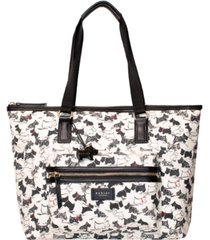 radley london scratchy dog large zip top tote