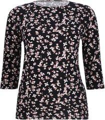 camiseta manga 3/4 estampada color negro, talla 1xl