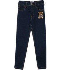 jeans with teddy bear application