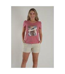 blusa mamorena t-shirt manga bufante rosa