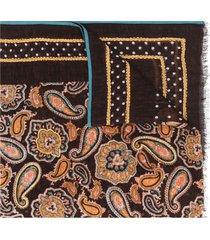 altea lightweight paisley-print scarf - brown
