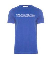 t-shirt masculina fio longo estampada - azul