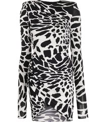 alexandre vauthier abstract-print bodycon dress - white
