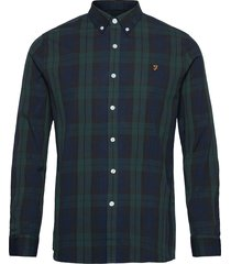 brewer tartan slim fit cotton oxford shirt skjorta casual grön farah