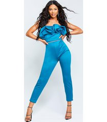 recycled bandeau jumpsuit with scrunched ruffle, teal
