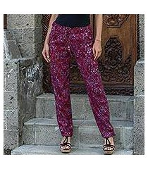 rayon pants, 'wine floral' (indonesia)