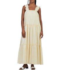 women's charlie holiday lottie gingham seersucker maxi dress, size medium - yellow
