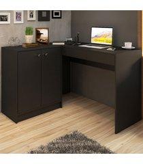 mesa para escritório venice 2 portas 2 gavetas grafite - pnr móveis