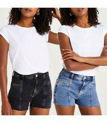river island womens black & blue mid rise denim shorts multipack