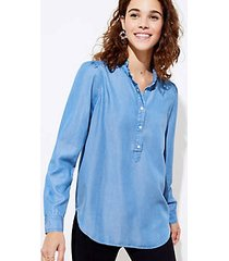 loft chambray ruffle tunic shirt