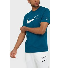 nike sportswear m nsw swoosh hbr ss tee t-shirts & linnen blå