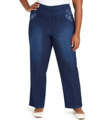 alfred dunner plus size autumn harvest proportioned embroidered denim pants