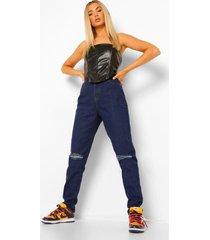 tall gescheurde mom jeans met opgerolde pijpen, dark blue
