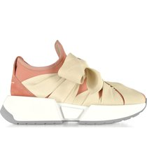 mm6 maison martin margiela pink neoprene and suede ribbon tied sneakers