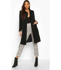 longline pocket detail wool look trench coat, black