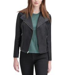 marc new york felix leather knit-panel moto jacket