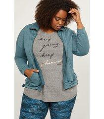 lane bryant women's livi zip-up french terry jacket - side-tie hem 26/28 reflecting pond