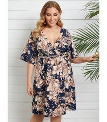 yoins plus talla escote en v estampado floral cinturón diseño diseño cruzado medias mangas vestido