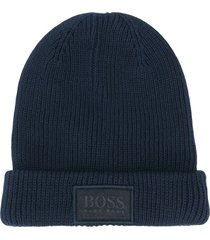 boss kidswear ribbed knit cotton beanie - blue