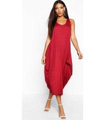 geplooide maxi jurk met racer rug, berry