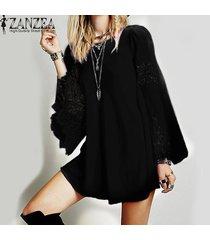 zanzea womens lace crochet splice hollow out flare sleeve cóctel suelto sexy party casual mini camisa vestido vestido plus negro -negro