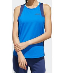 camiseta regata adidas colorblock azul feminina