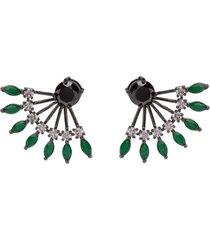 brinco ear jacket the ring boutique cristais verde esmeralda zp ródio negro