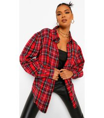 flannel blouson long sleeve oversized shirt, red