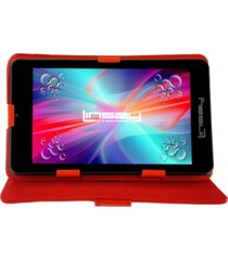 "7"" quad core 2gb ram 32gb android 10 dual camera tablet with red leather case"