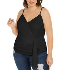 i.n.c. plus size wrap-front tank top, created for macy's