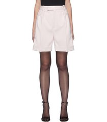 'magdeline' roll-up hem pleated faille shorts