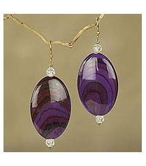 beaded dangle earrings, 'odopa in plum' (ghana)