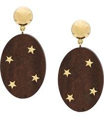 eshvi star embellished wooden drop earrings - brown