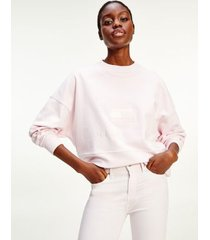 tommy hilfiger women's relaxed fit tonal logo sweatshirt light pink - xxxl