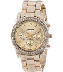 reloj casual mujer cristales cuarzo - color dorado