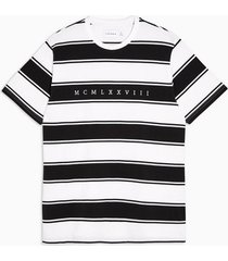 mens white and black pique stripe t-shirt