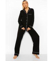 jersey shirt met lange mouwen en broek met knopen pyjama set
