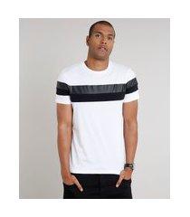 camiseta masculina slim com recortes manga curta gola careca branca