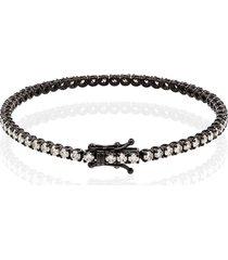 shay 18kt black gold pavé diamond tennis bracelet - metallic