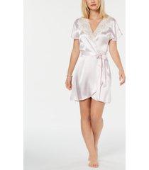 linea donatella blush juliet short satin robe