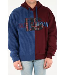 dolce & gabbana sweatshirt in jersey and wool with hood and patch