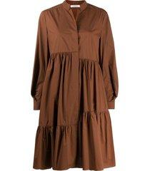 dorothee schumacher oversized poplin tiered dress - brown