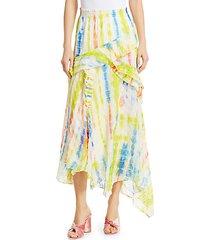 teresa silk-blend asymmetric midi skirt