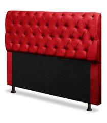 cabeceira capitonê casal king 195cm para cama box paris suede vermelho - ds móveis