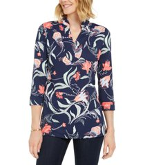 charter club petite paisley-print tunic, created for macy's