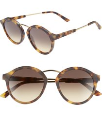 women's electric mix tape 52mm mirrored round sunglasses - matte tortoise/ black gradient