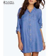 zanzea camisa de vestir de manga larga mujeres plegable botones bolsillos denim blue vestido azul claro -azul claro