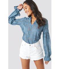 na-kd boho jacquard flower applique blouse - blue