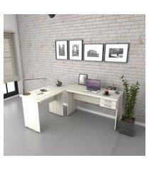escrivaninha mesa de escritório em l trevalla 1,80x1,40m c/ 2 gavetas snow