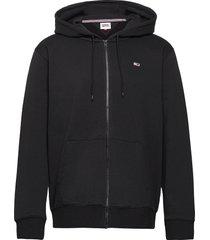 tjm regular fleece zip hoodie hoodie trui zwart tommy jeans